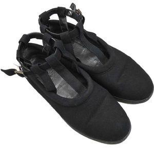 90s Yohji Yamamoto Black Wool Buckle T Strap Shoes